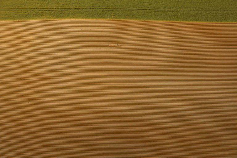 Vue aérienne d'un champ