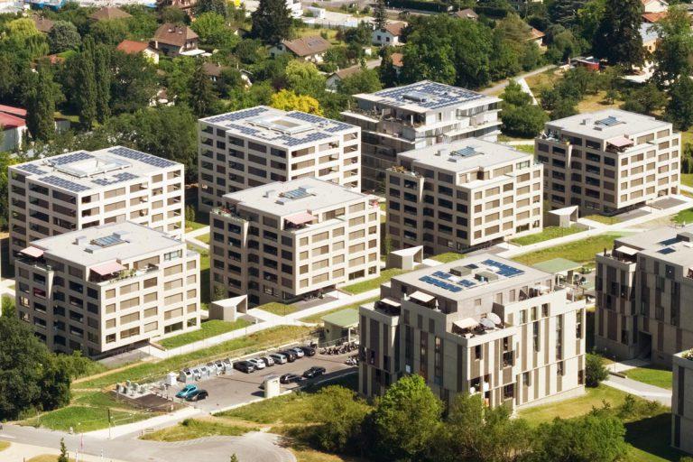 Vue aérienne du quartier de La Chapelle à Lancy